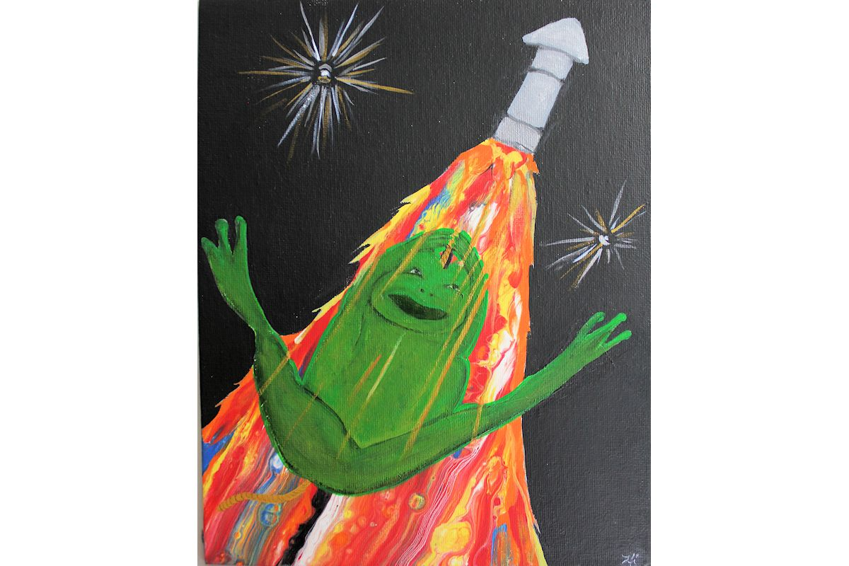acrylic painting swipe froggy ride